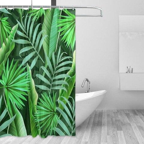 Cortina de Chuveiro Moderno à Prova Água do Banheiro Planta Tropical Banheiro Polegadas Longas Folhas Verdes Douchegordijn d' Cortina 60×72
