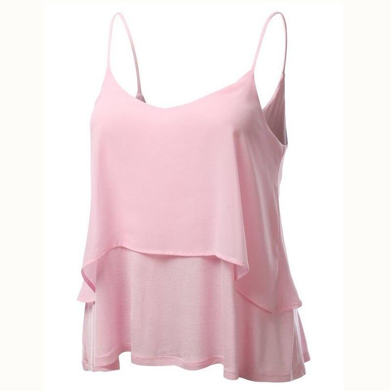 Jeseca New Sexy O-Neck Chiffon Sleep Wear Plus Size Soft Sleep Tops Halter Lounge Vest Loose Summer Female Sling Tops Home Wear