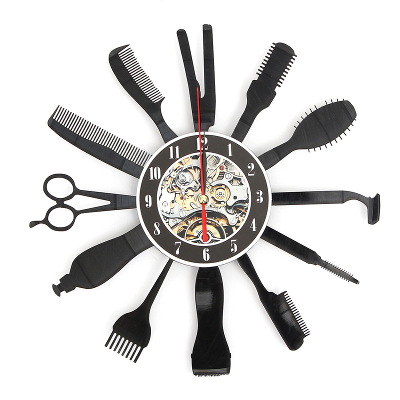 Charminer Hairdresser Salon Tool Art Vinyl Black Record Wall Clock Home Room Decor Gift Vinyl Record App 30cmX30cm