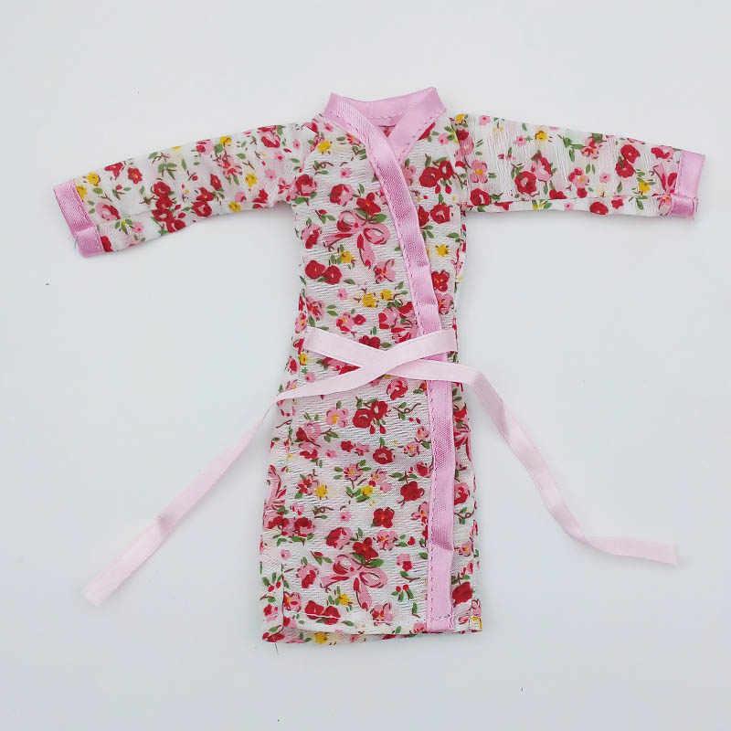פרח ורוד חלוק רחצה הלבשת פיג 'מה תלבושות בגדים לבובות ברבי 1/6 1:6 בית בובות BJD אביזרי בובה