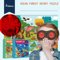 Mideer Wonderful Large Forest Ocean Secret Puzzle 35 Pcs With Perspective Glasses Paper Puzzle Learning And
