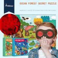 Mideer Merveilleux Grande Forêt Océan Secret Puzzle 35 pcs avec Perspective Lunettes Papier Puzzle Apprentissage et L'éducation Jouets Cadeaux