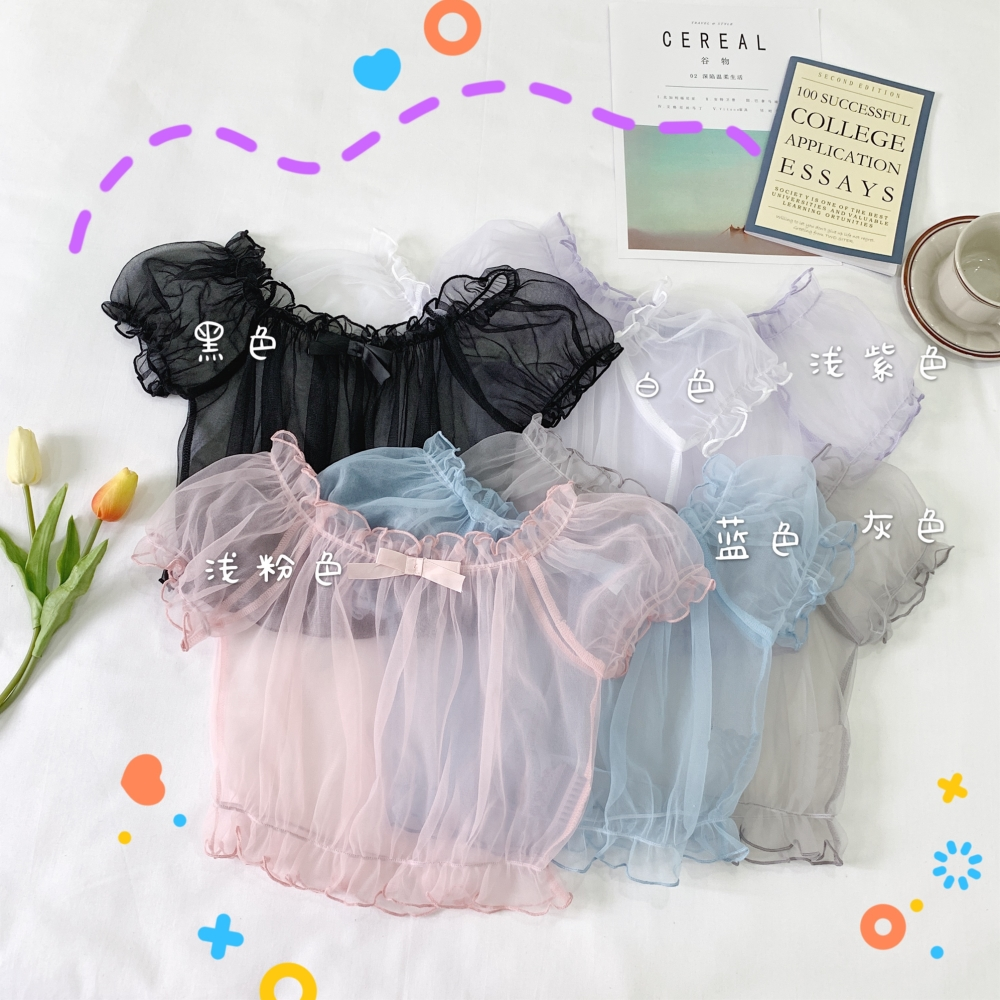 Super Fairy Japanese Soft Dress Dresses Lolita Lined Tops Cute Lolita Inside Puff Sleeves Chiffon Shirt Tops Female Summer
