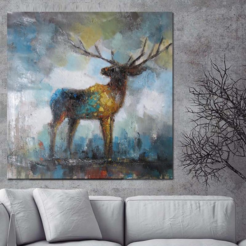 Print Watercolor Artistic Deer Elk Abstract Painting On