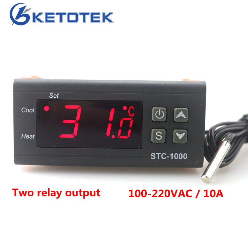 Two Relay Output LED Digital Temperature Controller Thermostat Incubator STC-1000 110V 220V 12V 24V 10A with Heater and Cooler digital stc 1000 220v all purpose temperature controller thermostat with sensor