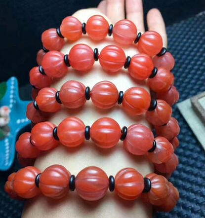 Natural South Red AgatePumpkin beads Bracelet 12.5-11.5mm AAANatural South Red AgatePumpkin beads Bracelet 12.5-11.5mm AAA