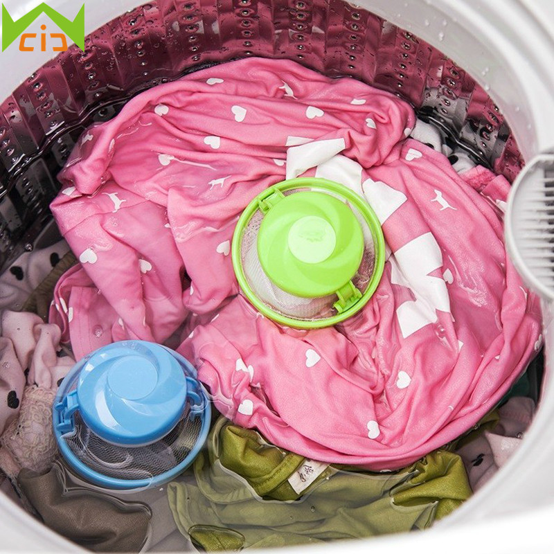 WCIC Folding Mesh Filter Bag Floating Washing Machine Wool Filtration Hair Remover Laundry Ball Bag Household Cleaning Tool