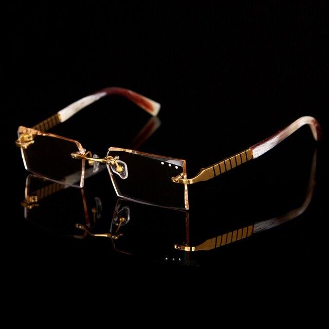 De gama alta Eyewear metal diamante recorte gafas oro anteojos sin ...