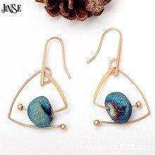 JINSE Brand Design European Gold Color Natural Stone Geometric  Dangle Drop Earrings 2017 New Fashion Jewelry For Women Brincos