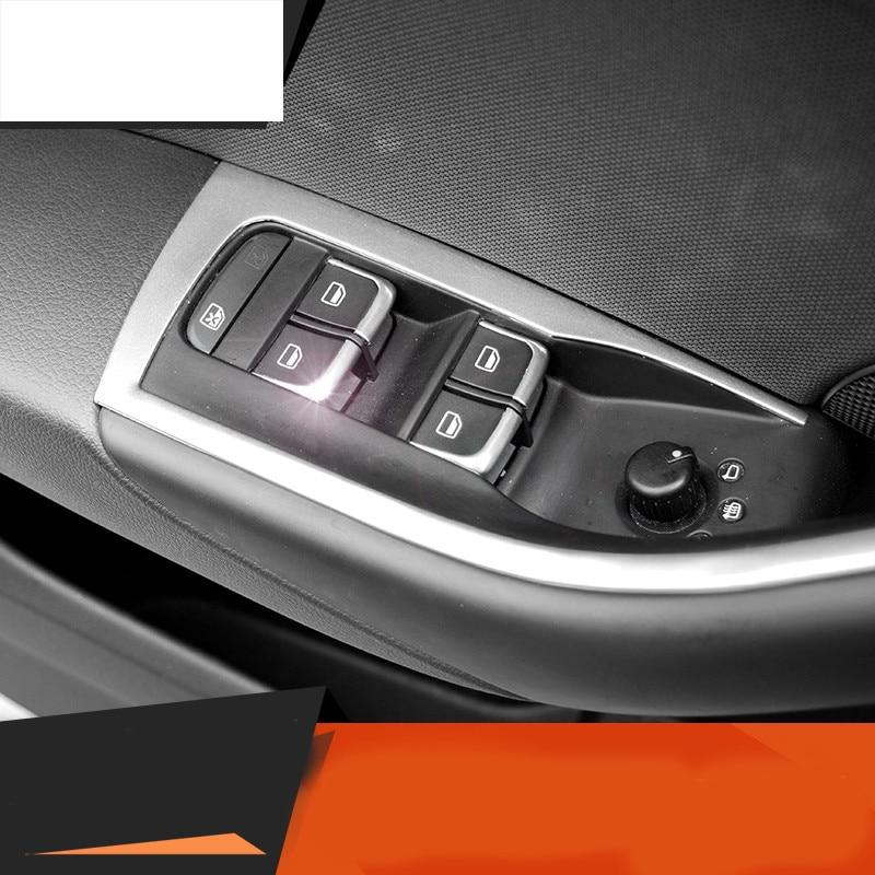 7Pcs/Set ABS Chrome Car Styling Interior Door Window Lift Switch Cover Decoration For AUDI A1 A3 8V A4 B8 A6 C7 Q3 Q5 Q7