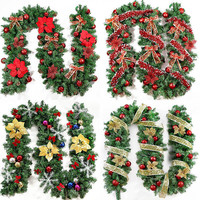 2016 New Green Christmas Garland Wreath Xmas Home Party Christmas Decoration Pine Tree Rattan Hanging Ornaments