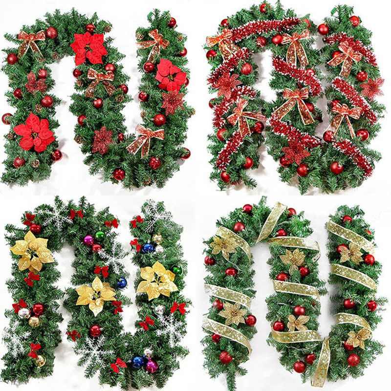 2016 New Green Christmas Garland Wreath Xmas Home Party
