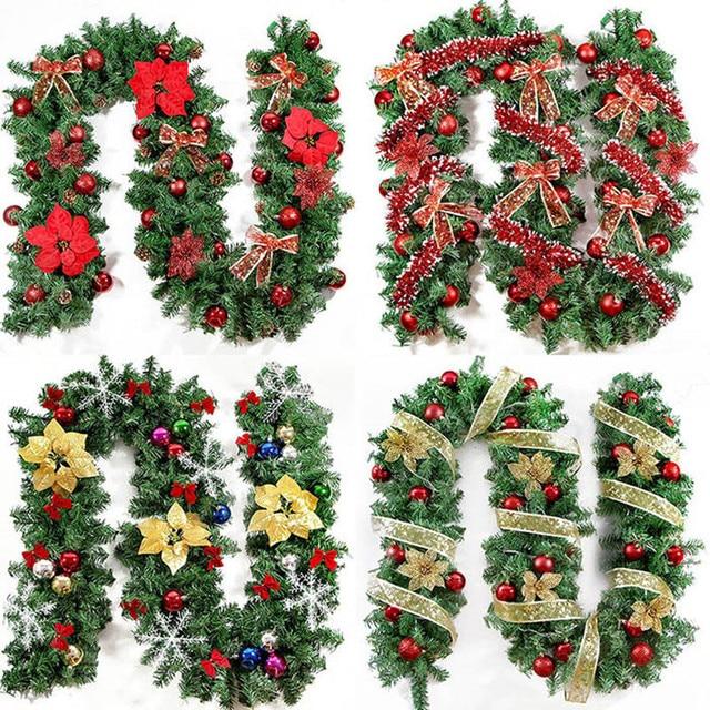 2018 new green christmas garland wreath xmas home party christmas decoration pine tree rattan hanging ornaments - Green Christmas Garland