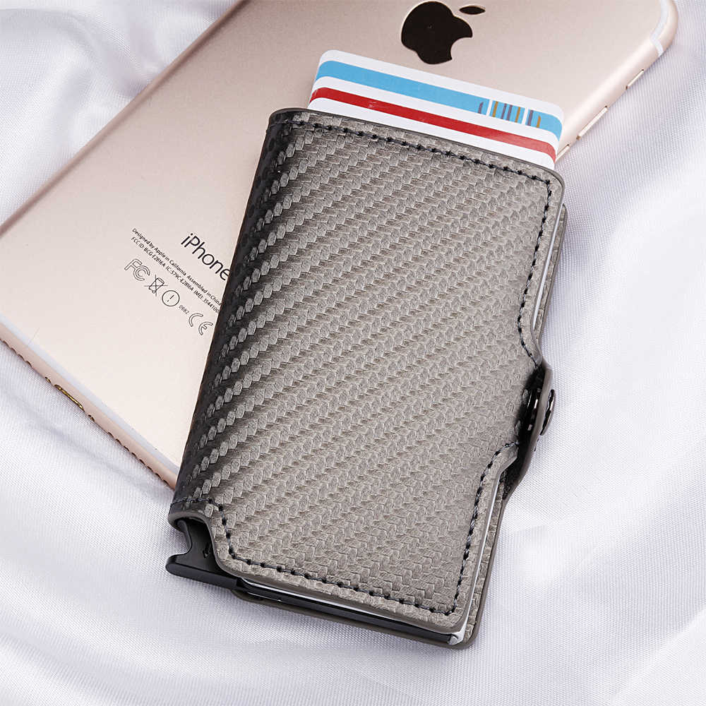 new products 2eac6 4f8b3 Casekey Mini Anti-theft Carbon Fiber Slim Wallet with Metallic Pop Up RFID  Credit Card Holder