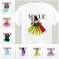 2015 Brand New Women Tshirt Tattoo Vogue Princess Print Cotton Casual Shirt For Lady White Top