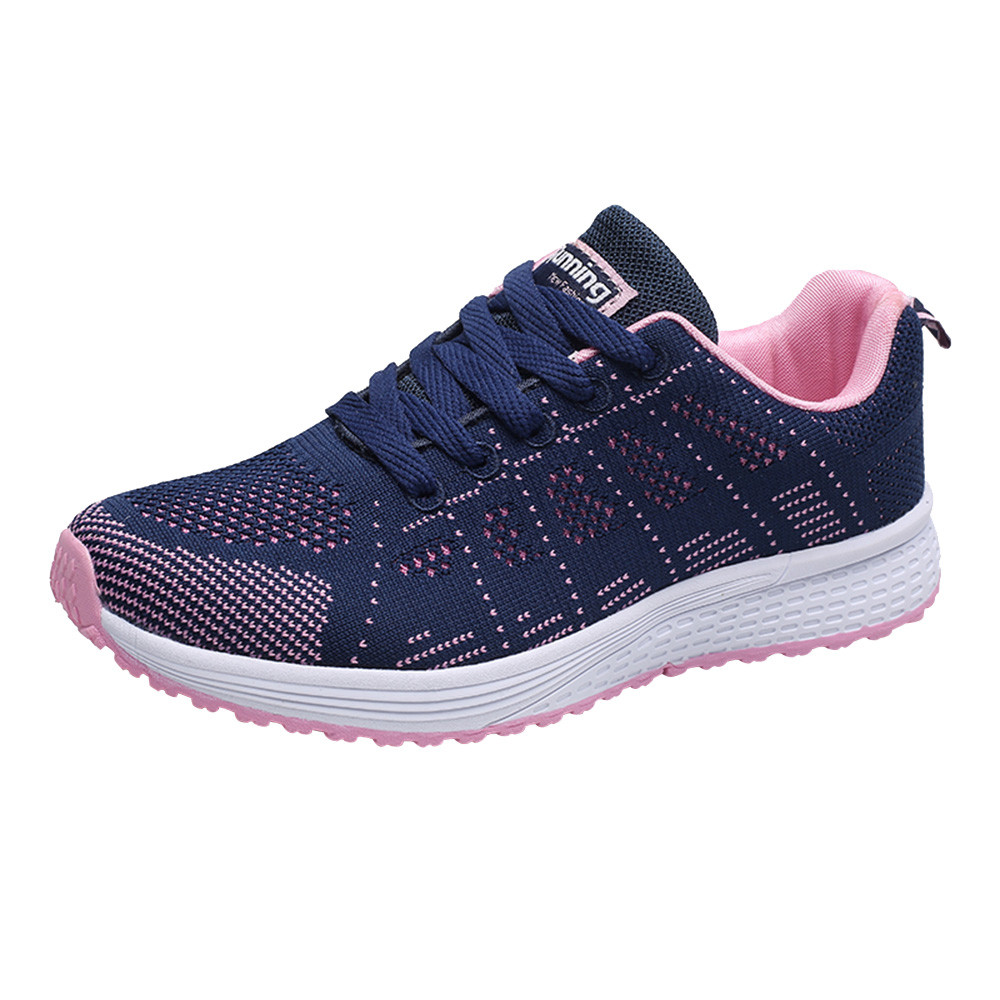 Womens Flat Casual Shoes Fashion Mesh Round Cross Straps Flat Casual Shoes @A30,Dark Blue,38,United States