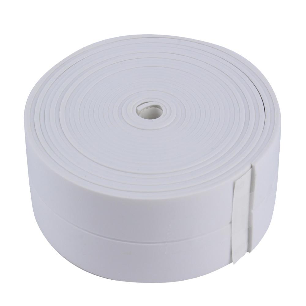 3.4m*38mm DIY Self adhesive Waterproof White Mildewproof Sealing Sealant Strip Tape Mosaic PVC Wall sticker for Bathroom Kitchen