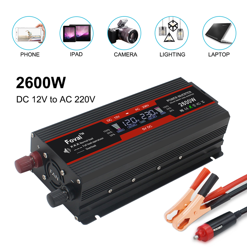 Écran LCD 1500 W/2000 W/2600 W DC 12 V/24 V à AC 220V 230V 240V convertisseur inverseur de puissance automatique double prise usb EU