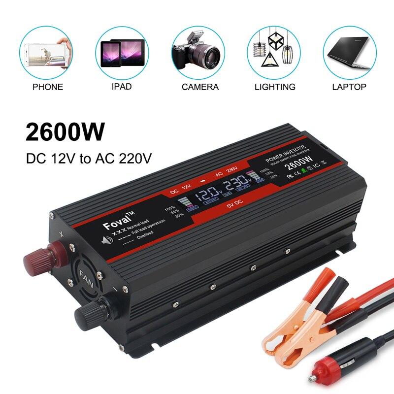 1500 W/2000 W/2600 W onduleur à onde sinusoïdale modifiée affichage LCD DC 12 V à AC 220 V solaire 2 USB transformateur de voiture convertir prise EU - 5