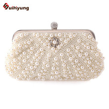 2016 New Listing Women s Hand beaded Handbags Exquisite Pearl Diamond Evening Bag Wedding font b