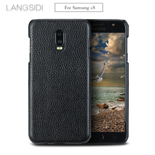 Cases For Samsung Galaxy C8 phone case real calf leather back cover / Litchi texture Genuine Leather