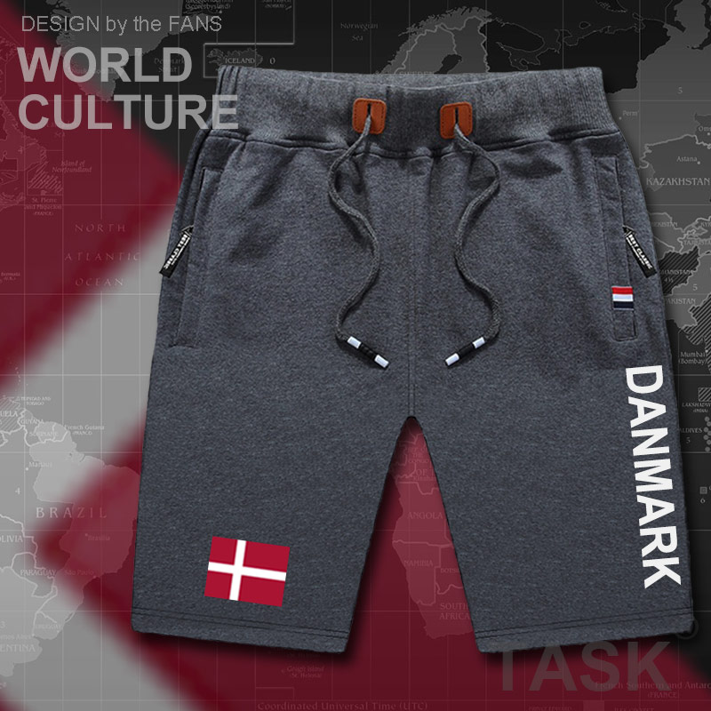 Denmark Danish Mens Shorts Beach New Men's Board Shorts Flag Workout Zipper Pocket Sweat Bodybuilding 2017 Cotton Danmark DK DNK
