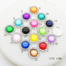 YWXINXI New 10Pcs/Lot 15mm Resin Cat Eye Jewelry Accessories Metal Handwork Diy Decoration Wholesale Supply 16Color