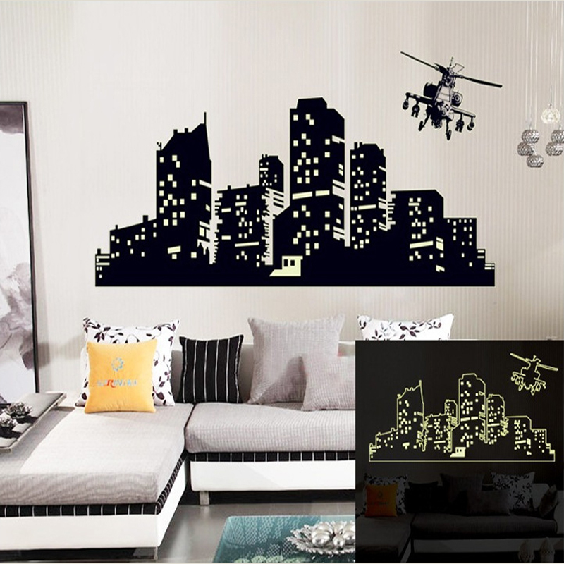 Large Fluorescent Luminous vinyl Wall Stickers City of the night sky Wall Stickers for kids room or living room Glow in the Dark 1