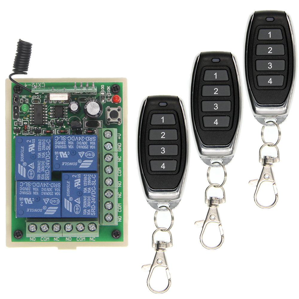 Smart Multiple DC 12V 24V 10A 315/433 MHz 4CH 4 CH Wireless Relay RF Remote Control Switch Receiver+1 2 3 4 Transmitter