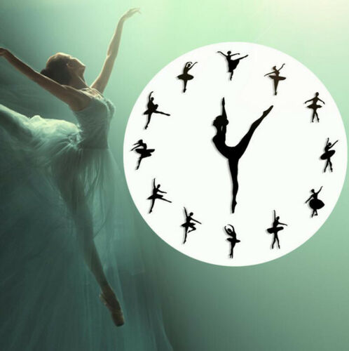 3D Luxury DIY Ballerina Dance Wall Clocks Home Decor Stickers Art Wall Clock
