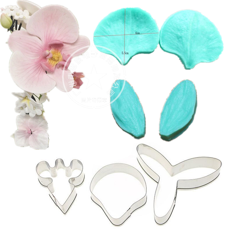 Gumpaste Phalaenopsis Орхидея Double Veiner Set Шекер Flower Mold Көпөлшемді Орхидея Пышақ Flower Cutter Fondant Sugarcraft Mold