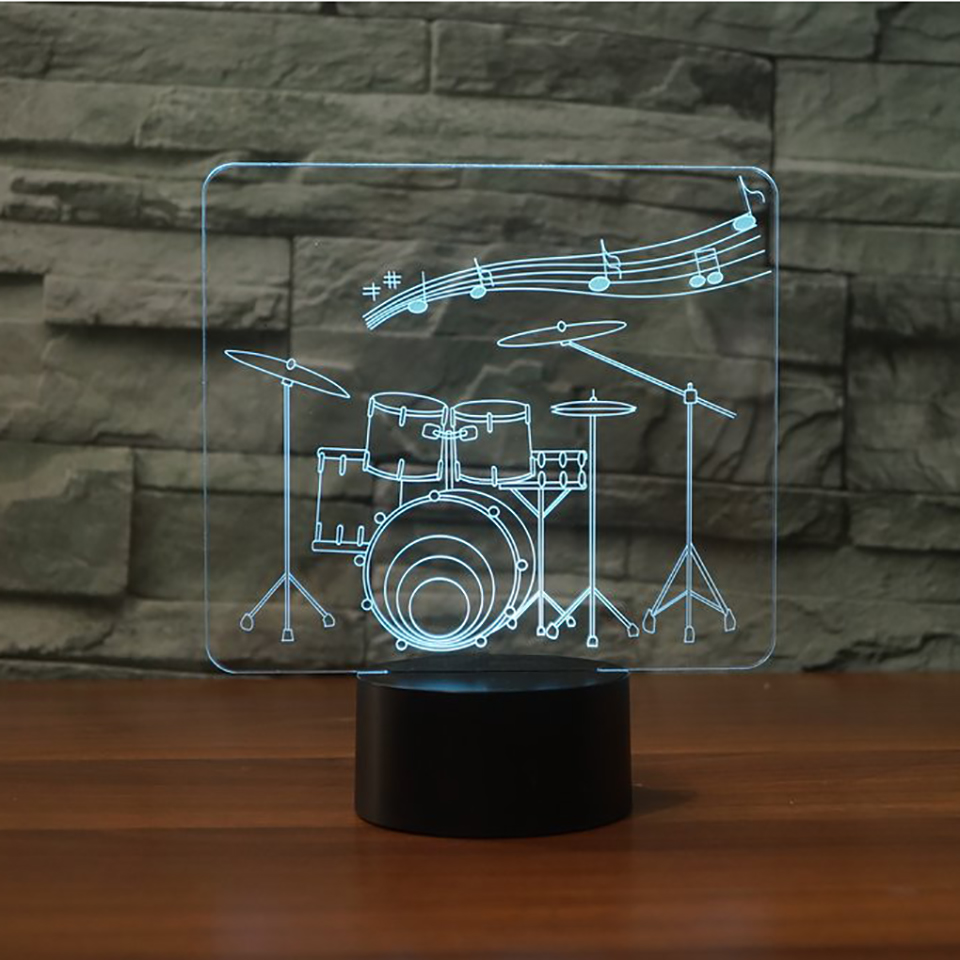 7 Color Touch Switch 3D Art Drum Modelling Led Nightlight Music Table Lamp Usb Atmosphere Room Decor Lighting Fixture Kids Gifts
