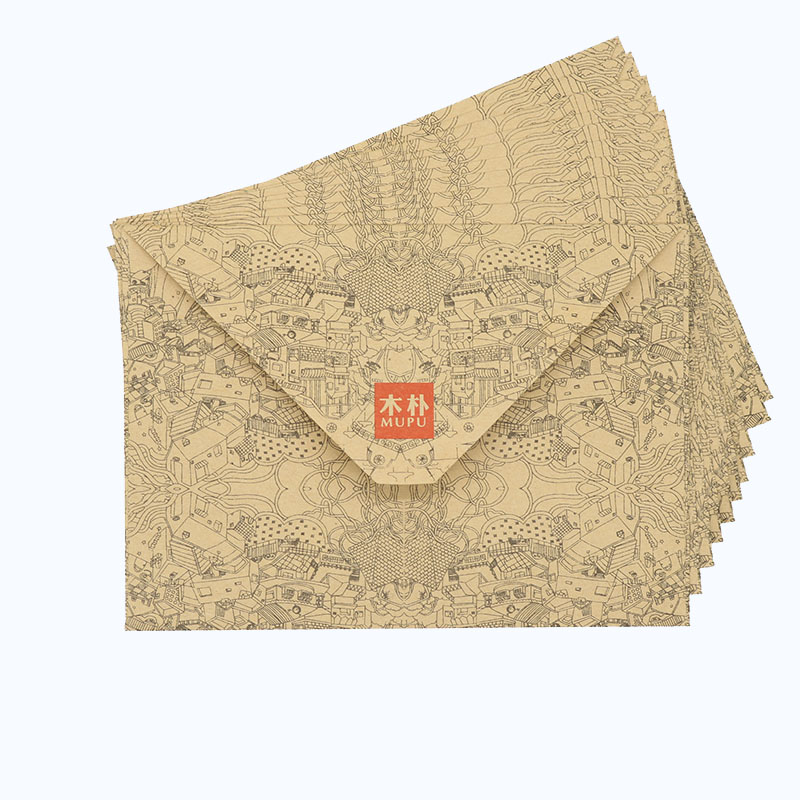 Retro High Quality Wood Pu Envelope Double-sided Paper Kraft Paper Print Envelope Gift Business Office Stationery 10pcs