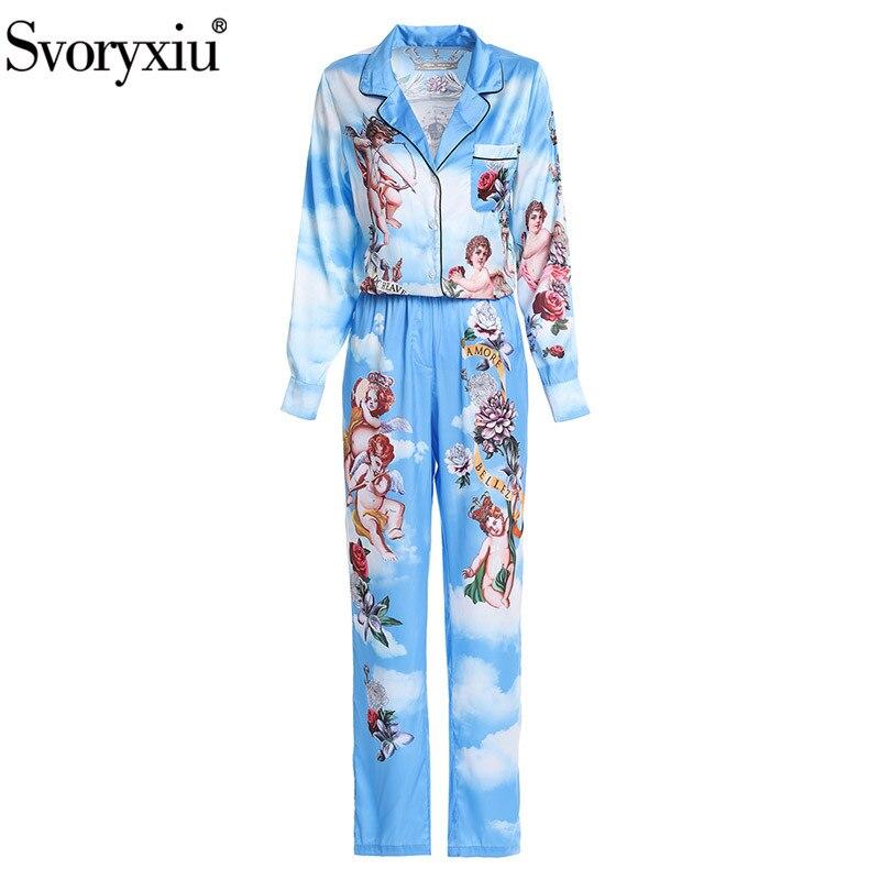 Qualité Piste Bleu De Femmes Occasionnel Deux Ange Lâche Pantalon Pièces Pyjamas Svoryxiu Haute Rose Automne Imprimé Ensemble 7pwEv7dqx