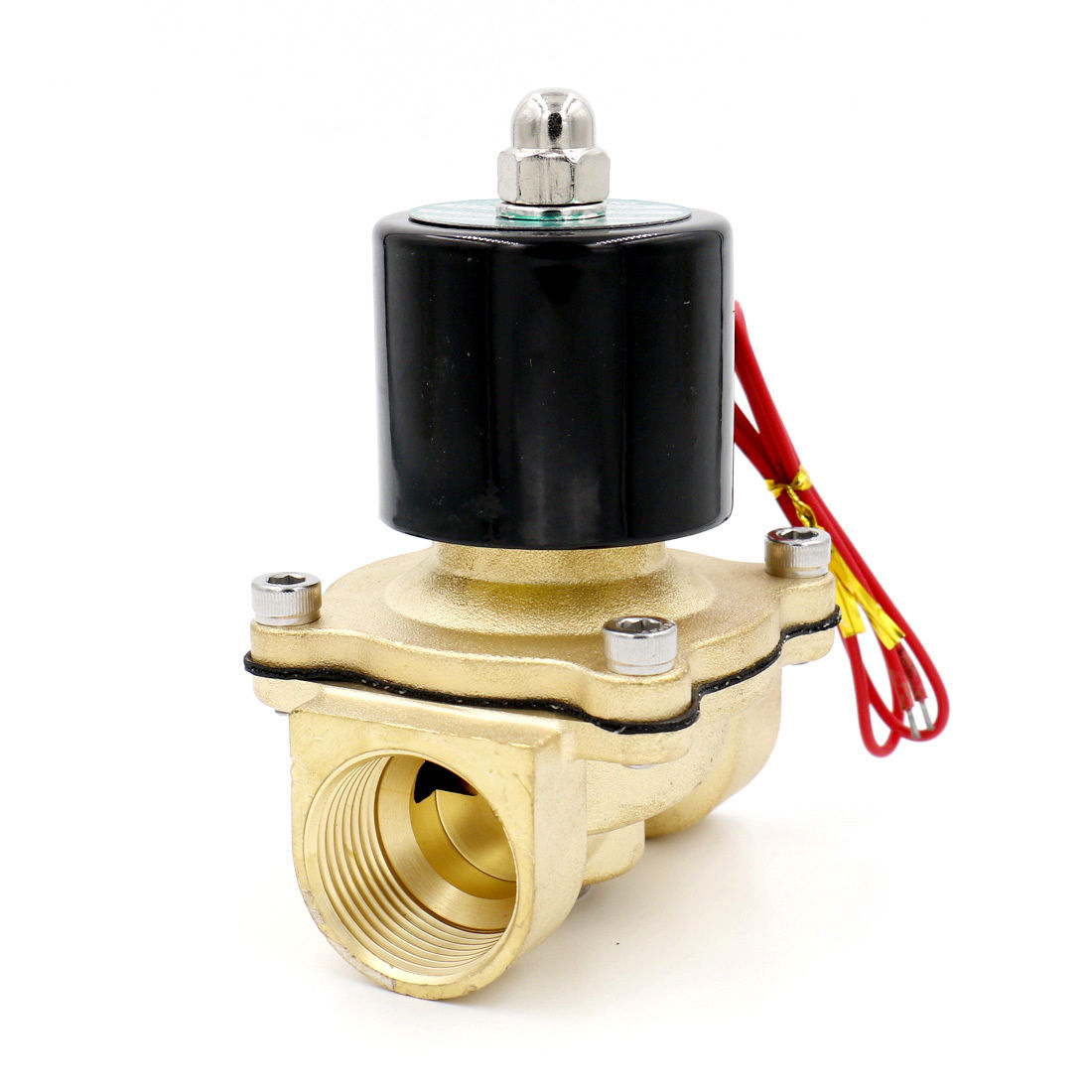 Brass Electric Solenoid Valve 2W-250-25 1 NPT 2/2 way female to female 12V NC female to female f f 1 2 pt threaded yellow lever handle brass ball valve