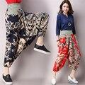 New Chinese Style Print Harem Pants Casual Loose Women trousers Cotton Linen Wide leg pants Ankle-Length Pants QS4530