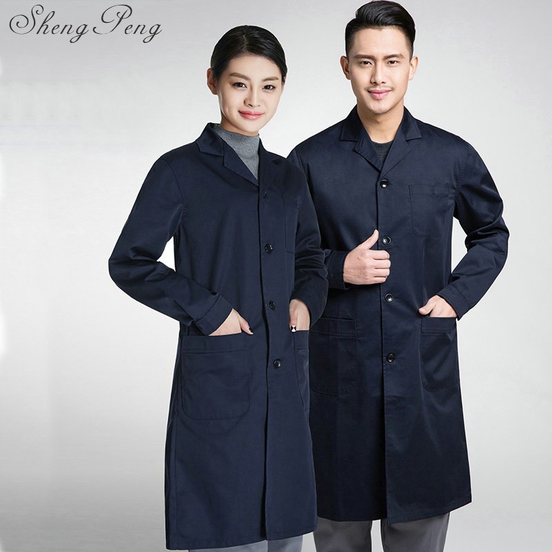 Work wear uniforms women men blue white lab coat medical clothing high quality lab supplies CC152