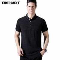 COODRONY Kurzarm T-shirt Männer 2018 Frühling Sommer Neue Ankunft Business Casual Umlegekragen T-Shirts Baumwolle T Shirts S8611