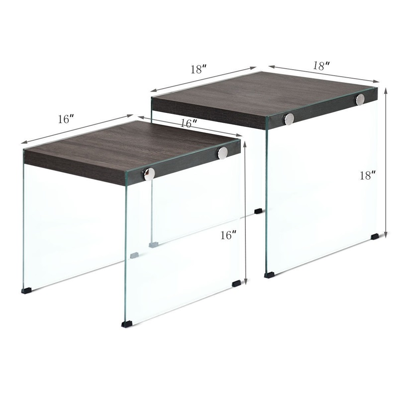 2 pcs Soho Nesten Salontafel Stapelbaar Glas Zijdige Tafel P2 Niveau MDF en Gehard Glas Materiaal Twee stuk ontwerp HW59450 - 6