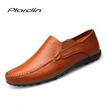 Plardin 2018 Fashion Plus Size Shoes Man Split Leather Soft Comfortable Dress Casual Sewing Men Genuine