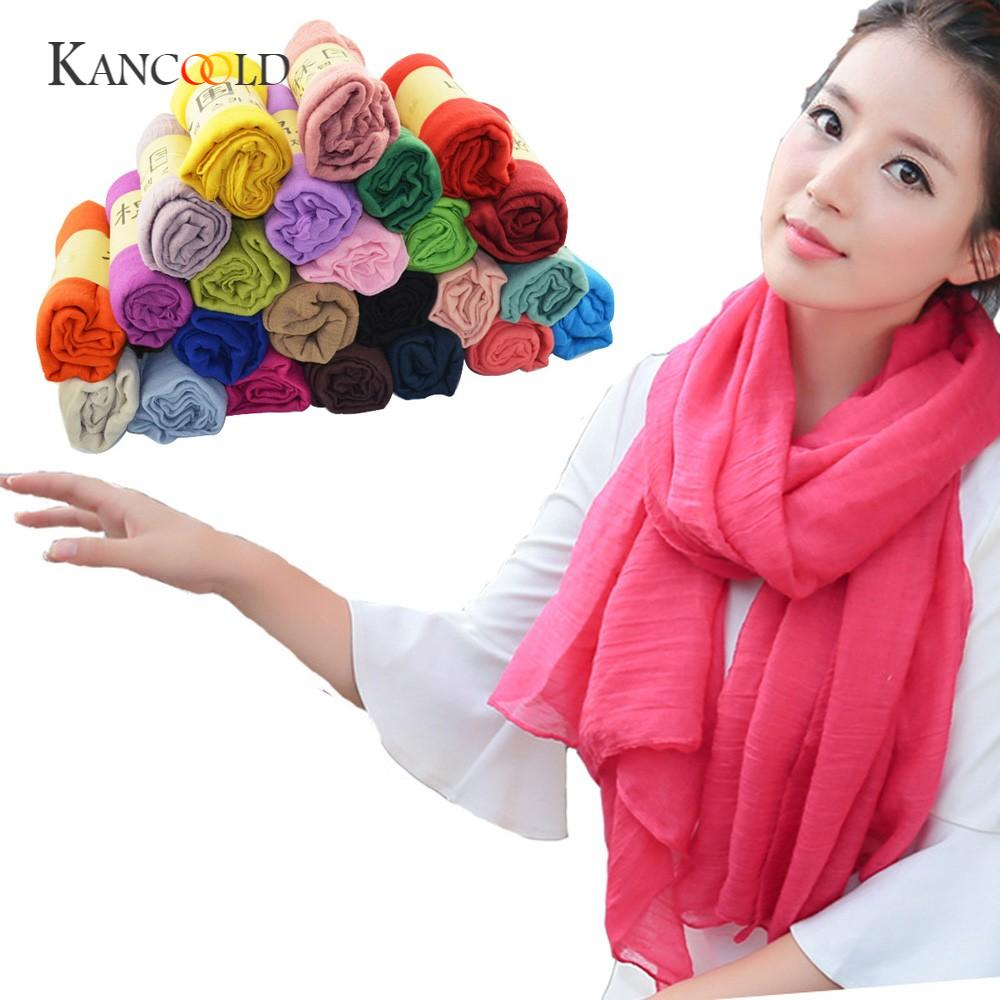 KANCOOLD silk   scarf   shawl Lady Women Long Unique Style Candy Colors Soft Cotton   Scarf     Wrap   Shawl   Scarves   Stole gloves FEB12