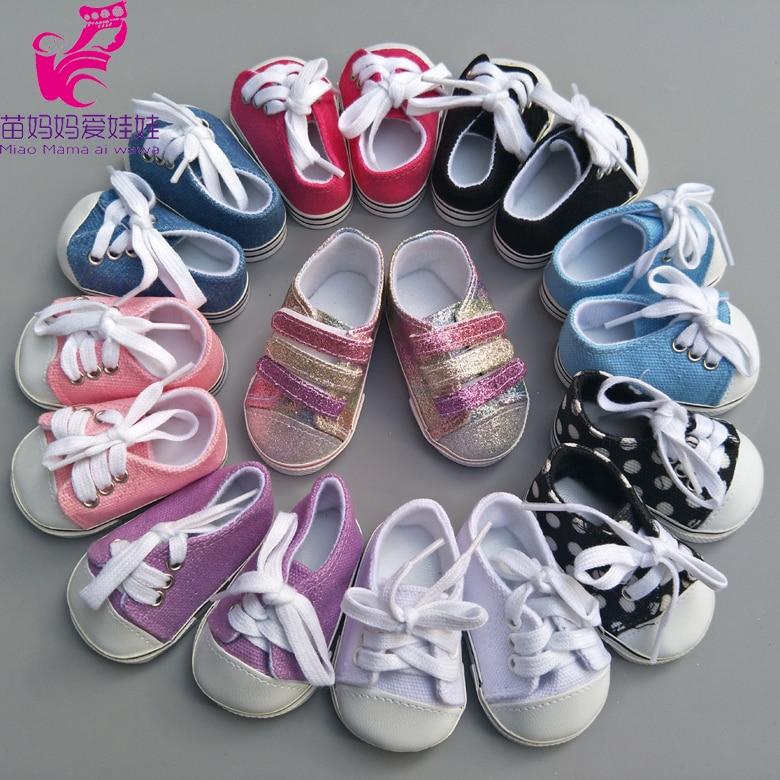 "7cm Canvas Doll Shoes Fits 43cm baby Dolls Reborn Baby Dolls shoes sneacker 18"" doll sports shoes"