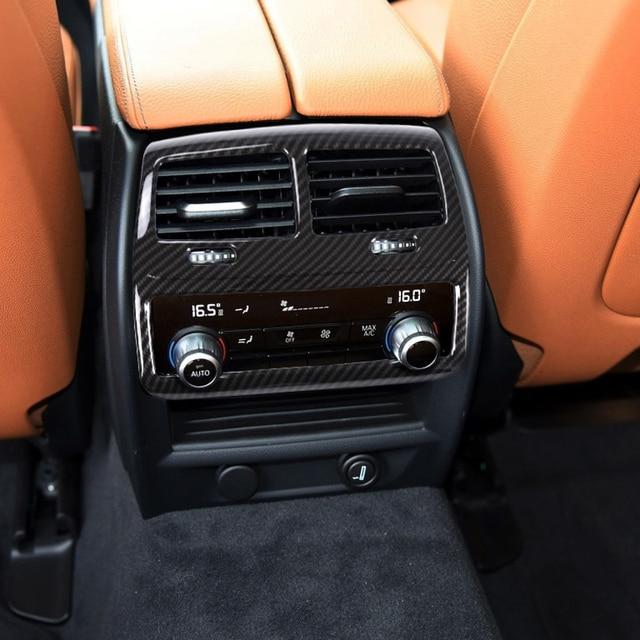 Carbon fiber For BMW 5 Series G30 2017-18 Car ABS Plastic Chrome Interior Moldings Rear Row AC Vent Outlet Frame Cover Trim 1pc