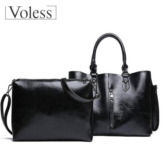 VOLESS 2 Set Leather Handbags Women Bag High Quality Casual Female Bags Tote Shoulder Bag Large Capacity Vintage Zipper Handbag