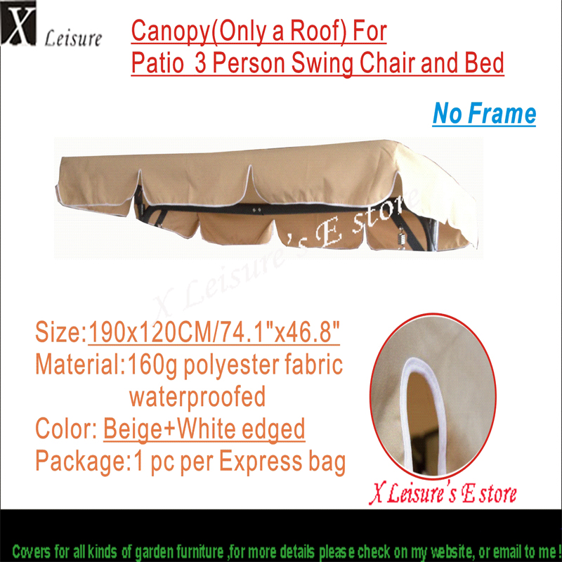 Canopy replacement for Patio swing chair,outdoor swing chair & hammock canopy  replacement--Beige190x120cm/74.8