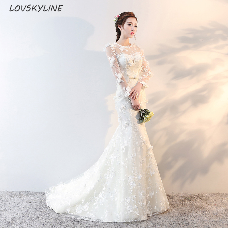 Vestido de noiva Short Train Sequined Appliques Mermaid Wedding Dress Tulle Sexy Mermaid Wedding Gowns Robe de mariage Gelinlik