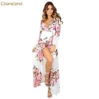 KLV 2017 HOT Sale Summer Ladies Sweet Sexy Elegant Dress V Neck Women Spring Boho Floral