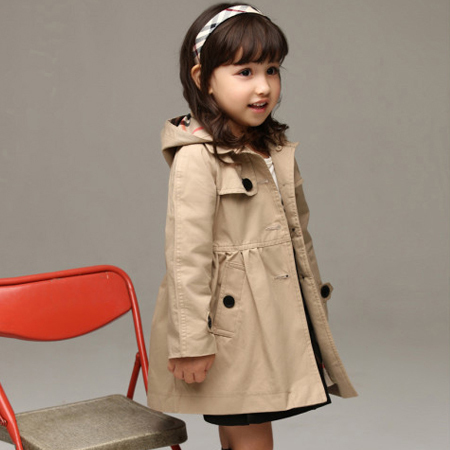 2016 new children's clothing girl spring and autumn princess coat solid color medium-long single breasted trench babys outerwear