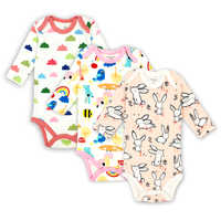 3 pcs/lot Baby Girls Boys Clothing Newborn Baby Bodysuits Long Sleeved Child Garment 100% Cotton Comfortable Baby Clothes