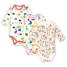 3 pcs/lot Baby Girls Boys Clothing Newborn Bodysuits Long Sleeved Child Garment 100% Cotton Comfortable Clothes
